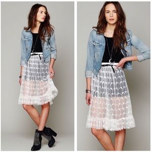 Free People Lace Sheer Skirt